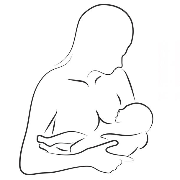 silhouette of woman breastfeeding