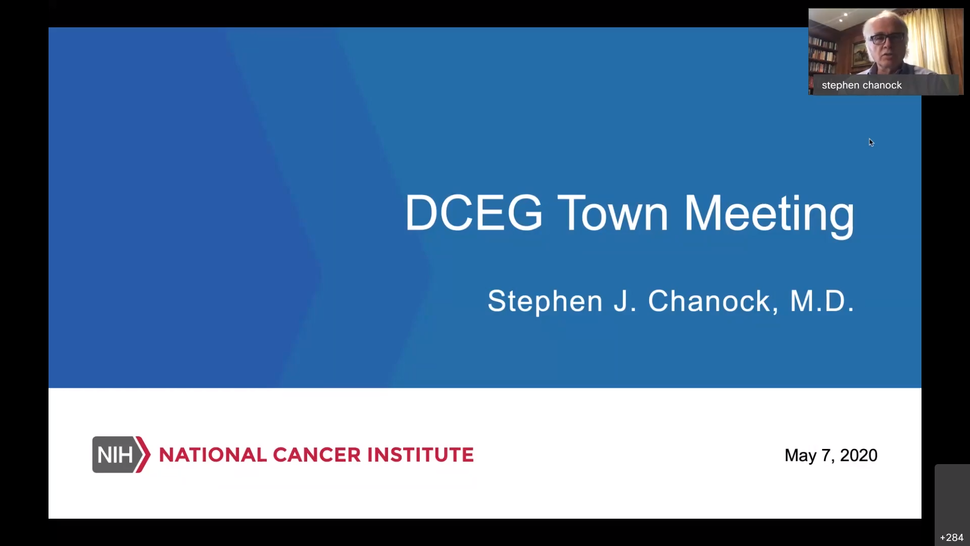 Image of the powerpoint title slide for the DCEG Town Hall on May 7, 2020.