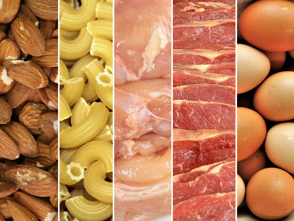 Image of 5 different panels of protein sources: almonds, pasta, chicken, pork, and eggs