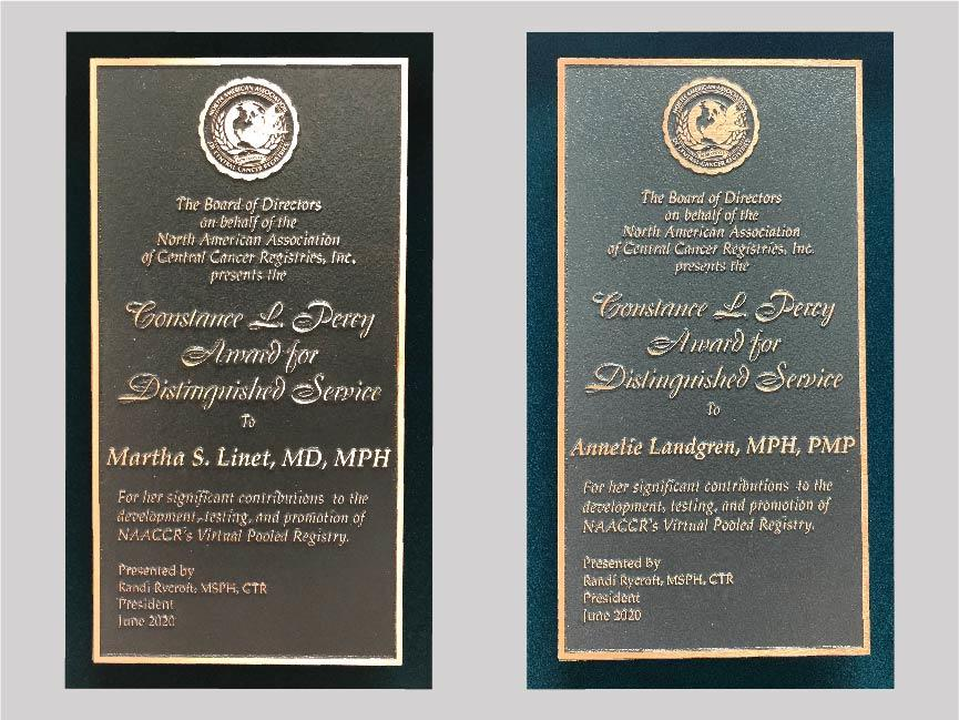 Constance L. Percy Award plaques for Martha Linet and Annelie Landgren