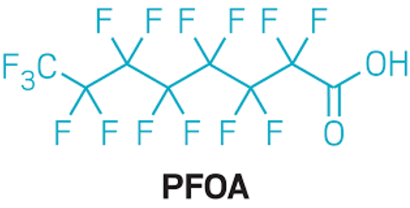 chemical structure of PFOA, Perfluorooctanoic acid
