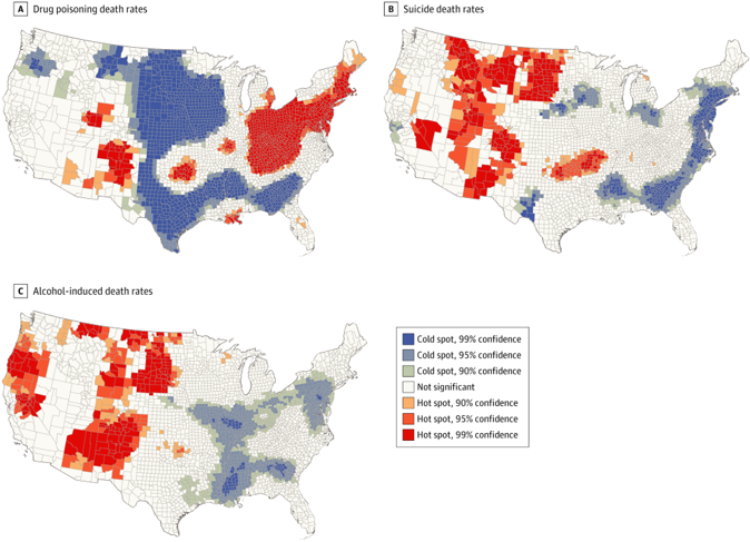 Three maps of the U.S. depicting hot spot analysis of U.S. counties with high (hot spots) and low (cold spots) drug poisoning, suicide, and alcohol-induced death rates. Cold spots are denoted in shades of blue and grey and hot spots in shades of red and orange.