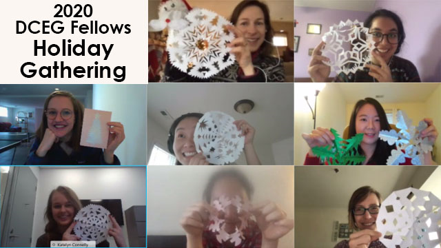 2020 DCEG Fellows Holiday Gathering: Office of Education hosts crafting activity with fellows during the holiday season. Picture displays homemade paper snowflakes.