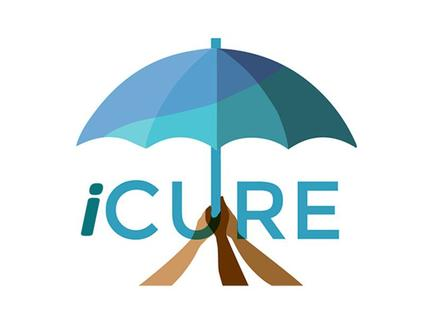 Image of 3 hands holding up an umbrella under the text: iCURE